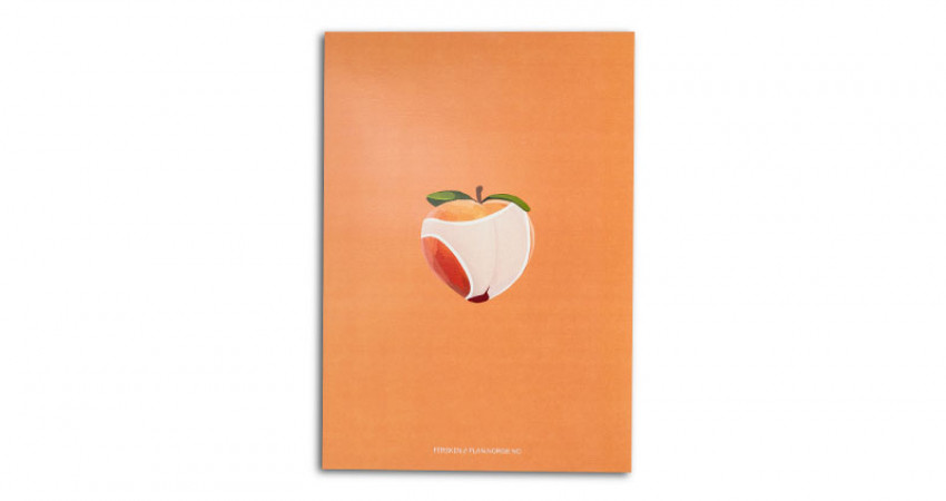 """Gave med mening: Plakat med motivet """"Fersken"""". A4. Hvit bakgrunn. Foto."""