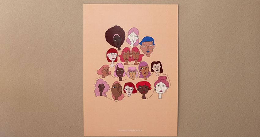 """Gave med mening: Plakat med motivet """"Kvinns"""", A4. Foto."""