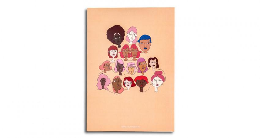 """Gave med mening: Plakat med motivet """"Kvinns"""", A4. Hvit bakgrunn. Foto."""